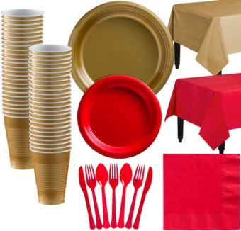 Gold & Red Plastic Tableware Kit for 50 Guests