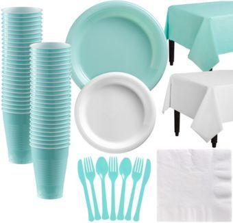 Robin's Egg Blue & White Plastic Tableware Kit for 50 Guests