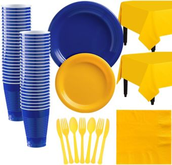 Royal Blue & Sunshine Yellow Plastic Tableware Kit for 50 Guests