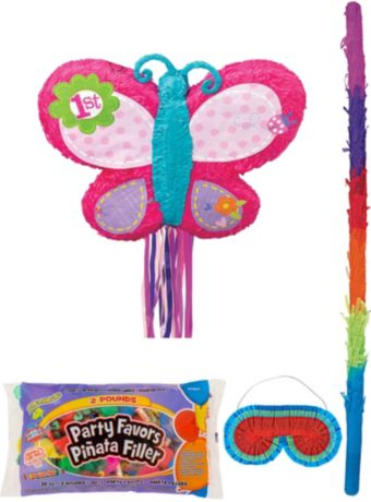 1st Birthday Butterfly Pinata Kit with Candy & Favors