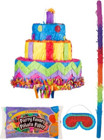 Birthday Cake Pinata Kit with Candy & Favors