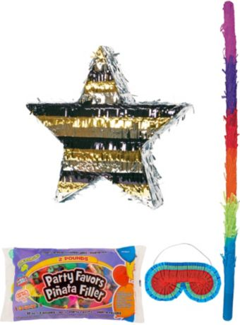 Foil Black, Gold & Silver Star Pinata Kit with Candy & Favors