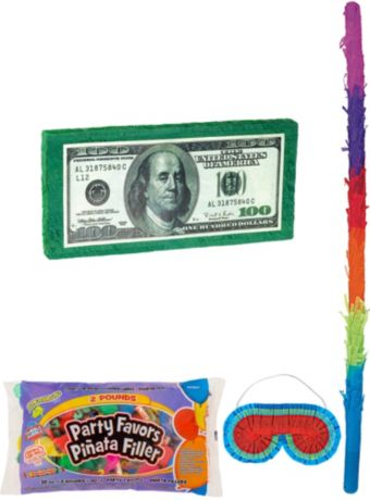 One Hundred Dollar Bill Pinata Kit with Candy & Favors
