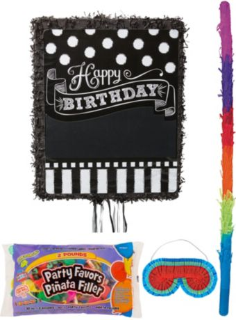 Personalized Chalkboard Birthday Pinata Kit with Candy & Favors