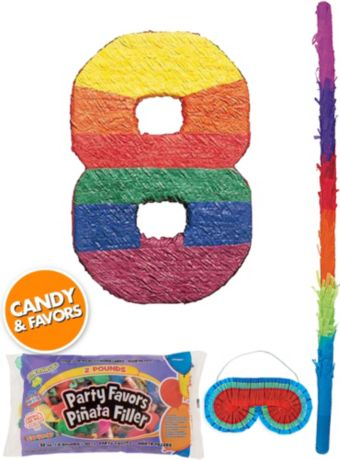 Rainbow Number 8 Pinata Kit with Candy & Favors