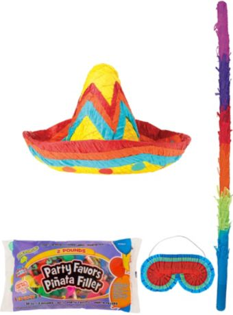 Sombrero Pinata Kit with Candy & Favors
