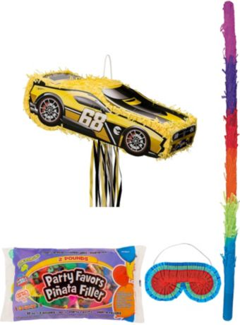 Yellow Race Car Pinata Kit with Candy & Favors - Hot Wheels