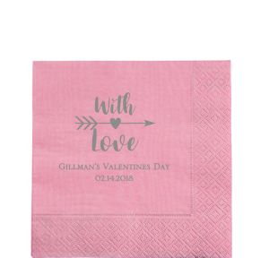 Personalized Valentine's Day Moire Lunch Napkins