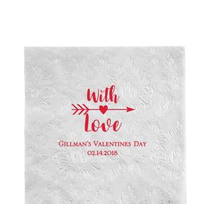 Personalized Valentine's Day Embossed Damask Lunch Napkins
