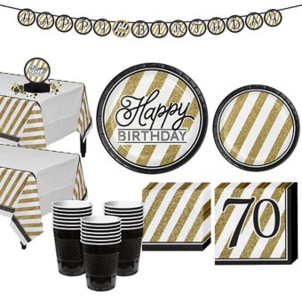 White & Gold Striped 70th Birthday Party Kit for 32 Guests
