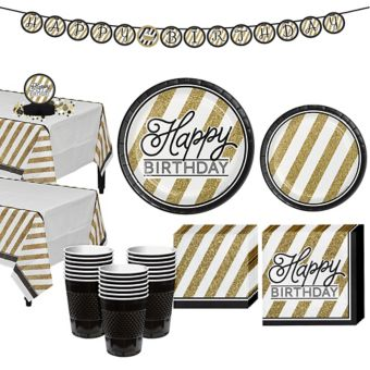 White & Gold Striped Birthday Party Kit for 32 Guests