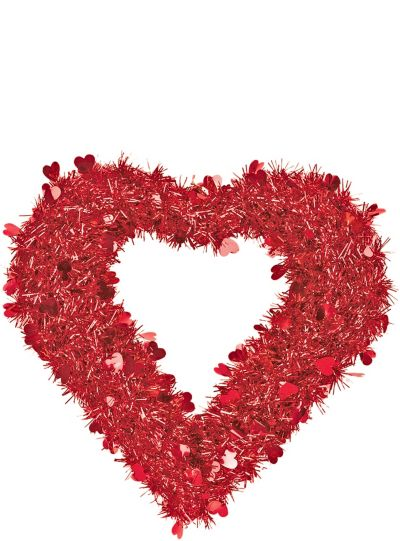 Red Tinsel Heart Wreath