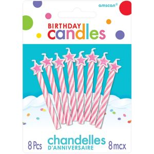 Pink Star Spiral Birthday Candles 8ct