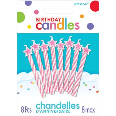 Pink Star Spiral Birthday Candles 8ct