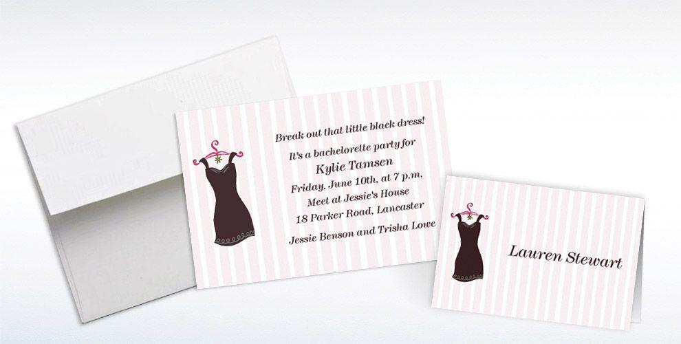 Custom Little Black Dress Bachelorette Party Invitations & Thank ...