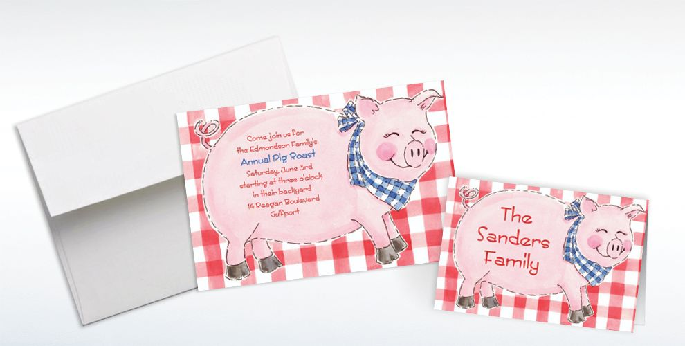 Custom Big Pig Roast Invitations and Thank You Notes