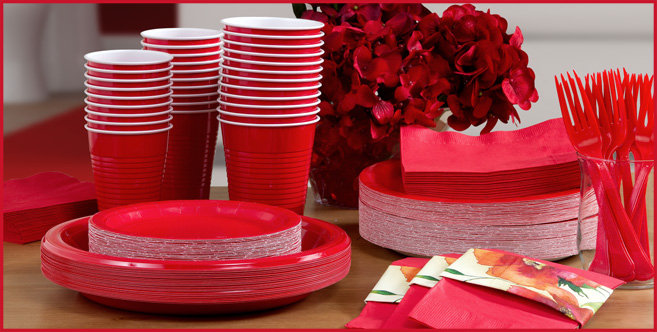 solid red tableware #3