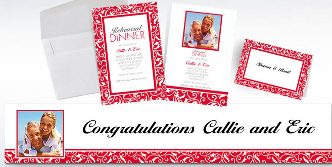 Red Wedding Custom Invitations and Banners #2