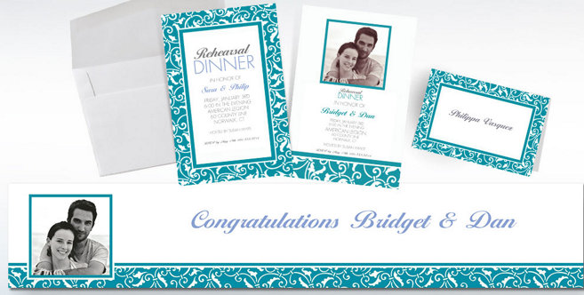 Caribbean Blue Wedding Custom Invitations and Banners #2