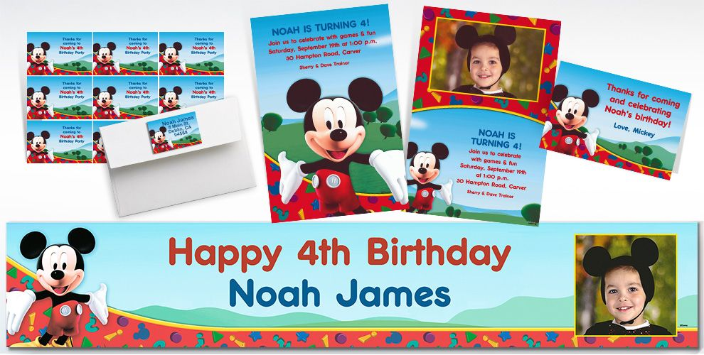 Custom Mickey Mouse Invitations Thank You Notes Party City – Party City Birthday Invitations