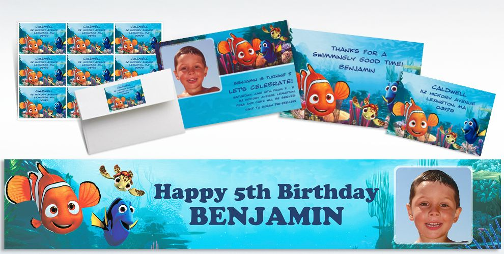 Custom Finding Nemo Invitations and Thank You Notes
