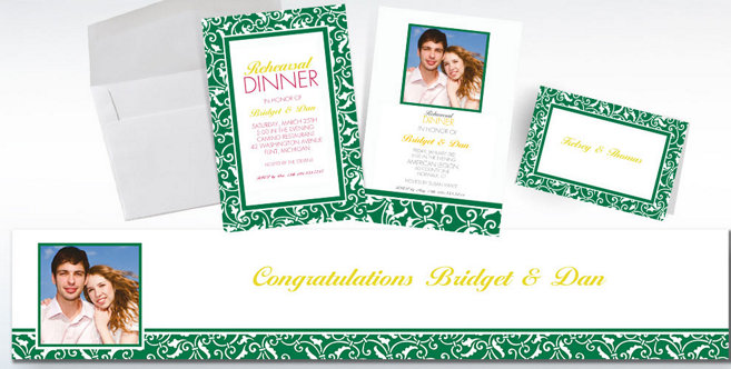Festive Green Wedding Custom Invitations and Banners #2