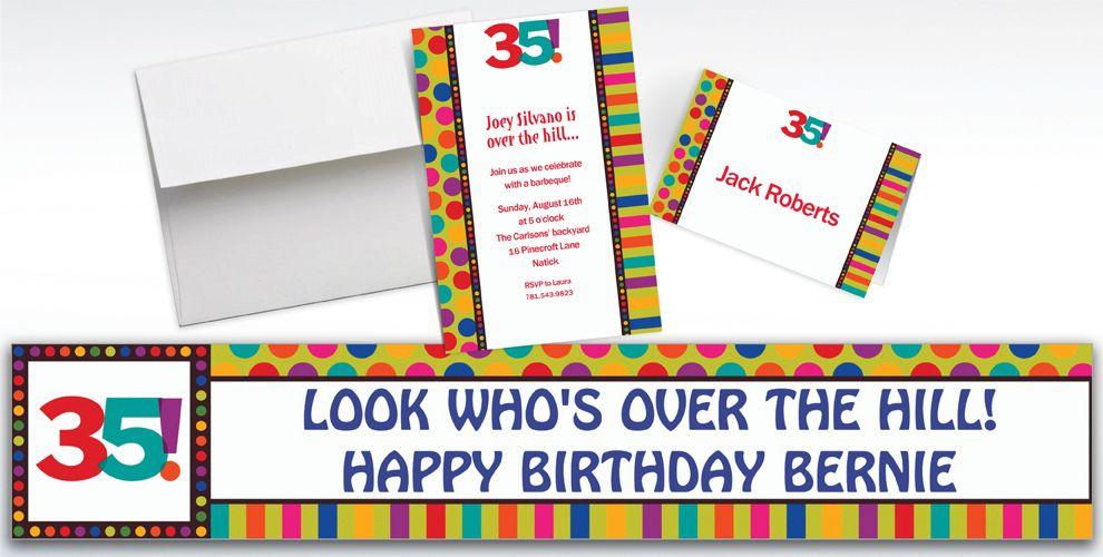 Custom Birthday Dots & Stripes 35th Birthday Invitations - Party City