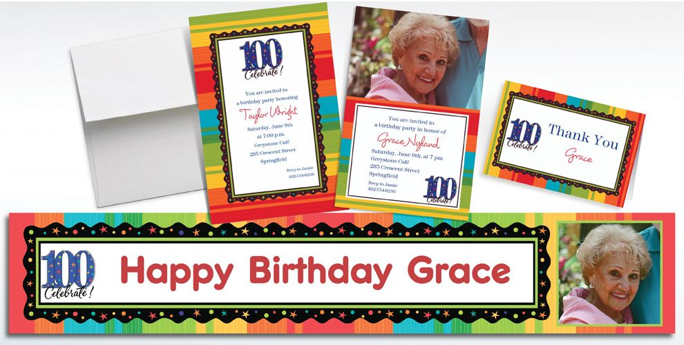 Custom 100th Birthday Invitations and Thank You Notes