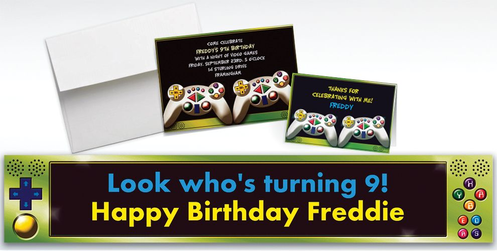 Custom Video Game Invitations & Thank You Notes - Party City