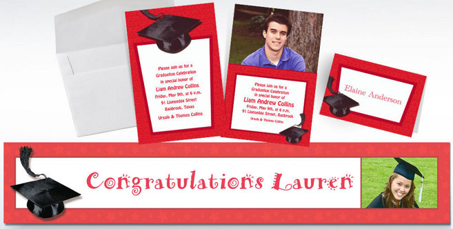 Red Graduation Custom Invitations and Banners #2