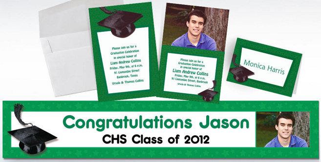 Green Graduation Custom Invitations and Banners #2