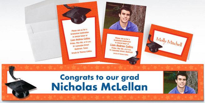 Orange Graduation Custom Invitations and Banners #2