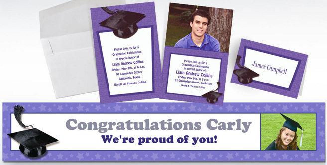 Purple Graduation Custom Invitations and Banners #2