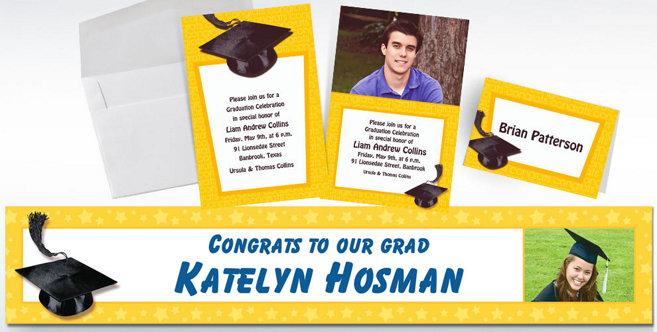 Yellow Graduation Custom Invitations and Banners #2