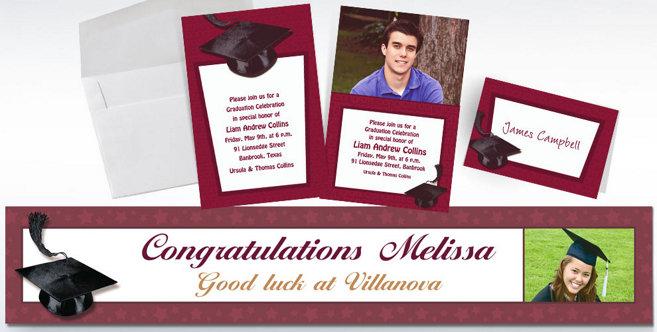 Berry Graduation Custom Invitations and Banners #2