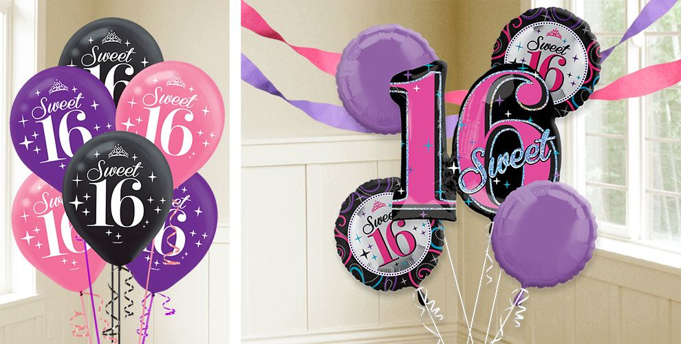 Sweet 16 birthday balloons party city for Balloon decoration ideas for sweet 16