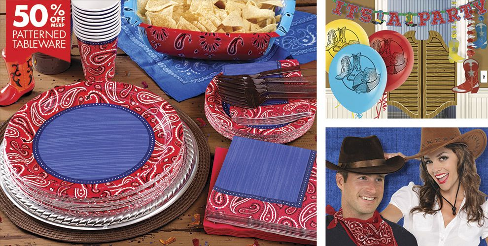 Bandana Western Theme Party Supplies — Patterned Tableware 50% off MSRP