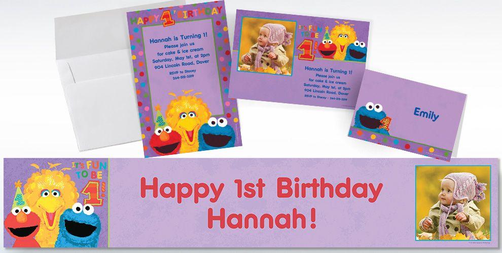 Custom Sesame Street 1st Birthday Invitations Thank You Notes – Sesame Street 1st Birthday Invitations