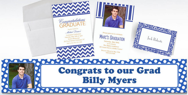 Royal Blue Custom Invitations and Banners #2