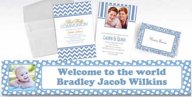 Pastel Blue Custom Invitations and Banners #2