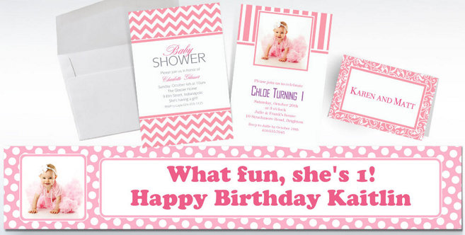 Pink Custom Invitations and Banners #2