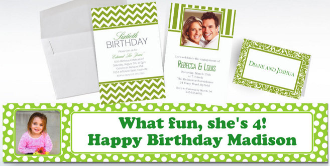 Kiwi Green Custom Invitations and Banners #2