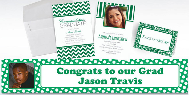 Festive Green Custom Invitations and Banners #2
