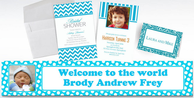 Caribbean Blue Custom Invitations and Banners #2