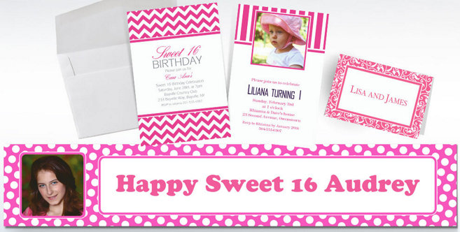 Bright Pink Custom Invitations and Banners #2