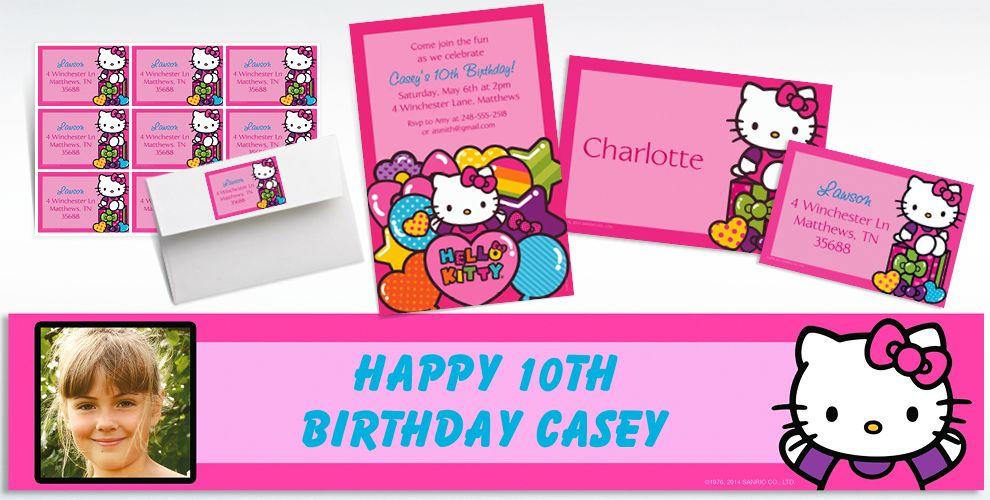 Custom Rainbow Hello Kitty Invitations and Thank You Notes