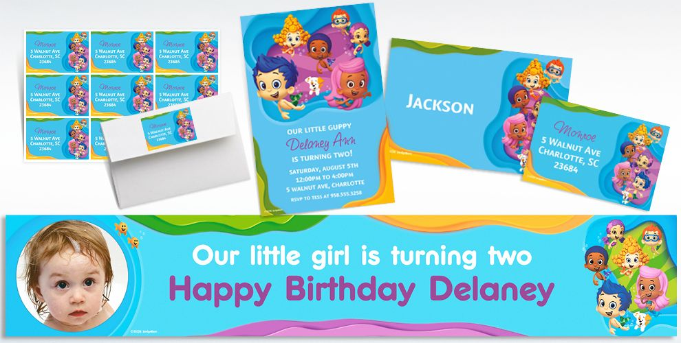 Custom bubble guppies invitations thank you notes party city - Bubble guppies birthday banner template ...