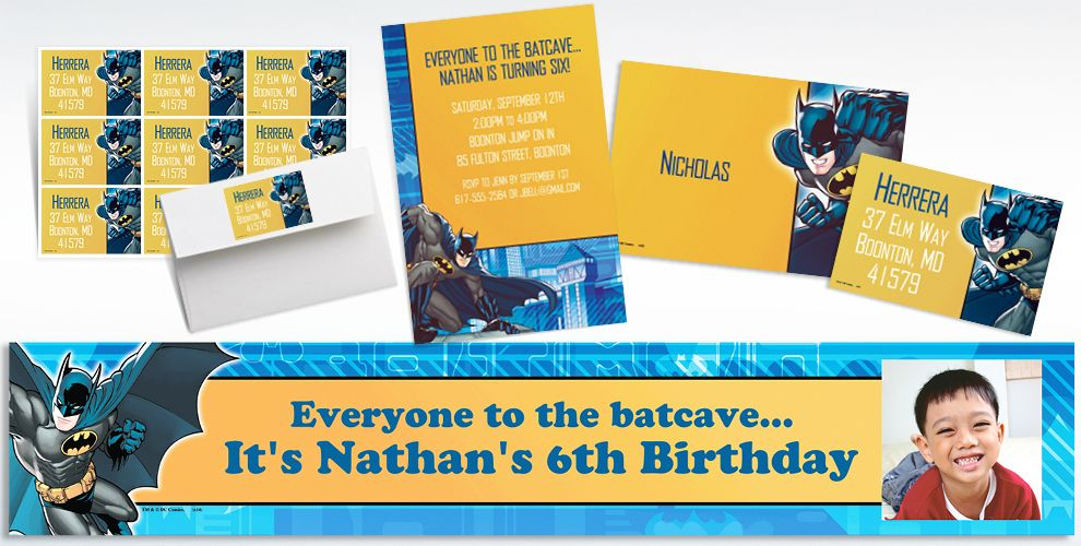 Custom Batman Invitations and Thank You Notes