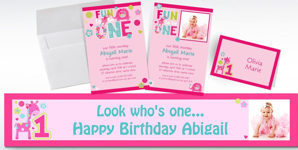 Custom One Wild Girl 1st Birthday Invitations Thank You Notes – Party City Birthday Invitations