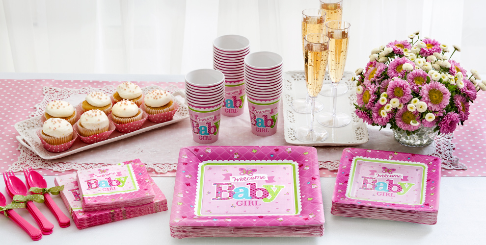 Girl welcome baby party supplies welcome little one for Baby welcome party decoration ideas
